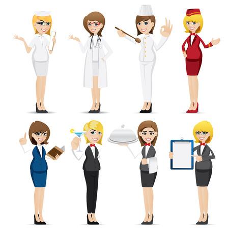 만화 여자 직업의 그림 8 세트 디자인
