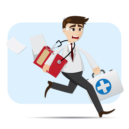 illustration of cartoon doctor in rush hour
