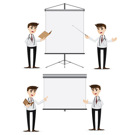 illustration of cartoon doctor presentation with blank board set