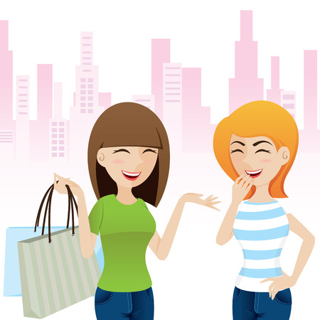 teenagers laughing: illustration of cartoon happy girl talking after shopping in teenage lifestyle concept Illustration