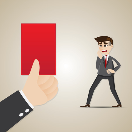 lay: illustration of cartoon businessman with red card in lay off concept