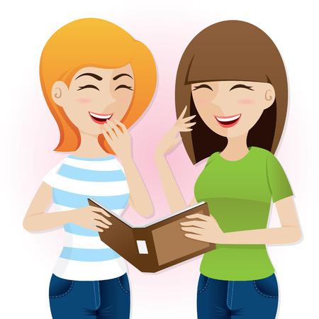 illustratie van cartoon tienermeisjes lachen met tijdschrift in lifestyle concept