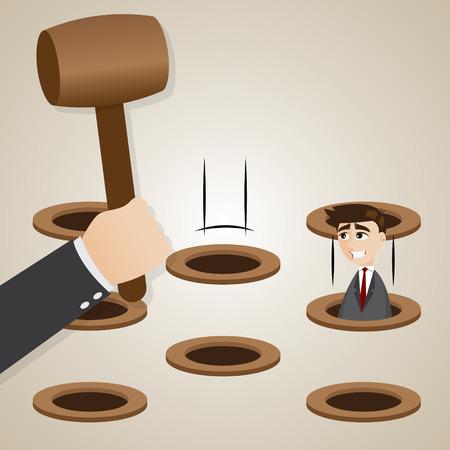 dodge: illustration of cartoon businessman in hit the mole style