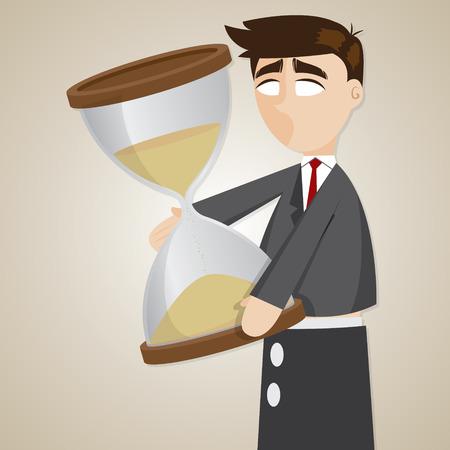 show time: illustration of cartoon puppet businessman holding sandglass in time concept Illustration