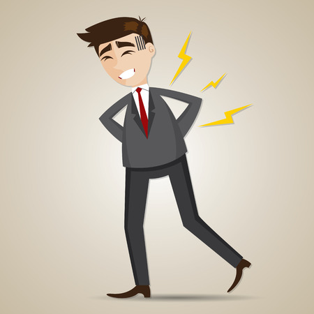 syndrome: illustration of cartoon businessman have backache in office syndrome concept