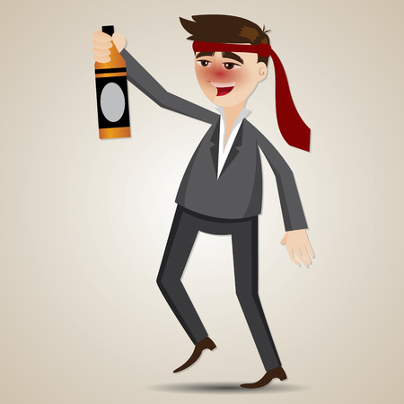 alcoholism: illustration of cartoon drunk businessman with alcohol bottle in relaxing concept
