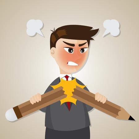 empresario enojado: ilustraci�n de dibujos animados de negocios enojado l�piz roto Vectores