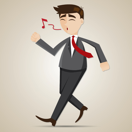 happy employees: illustration of cartoon happy businessman walking and whistler in relax concept