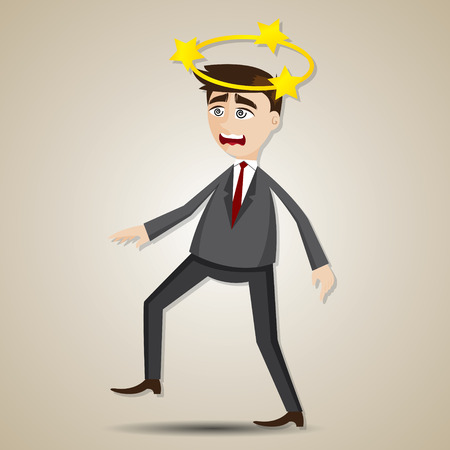 illustration of cartoon businessman confused with star on his head Vector