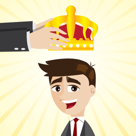 an illustration promoting: illustration of cartoon businessman promoting with crown in success concept Illustration
