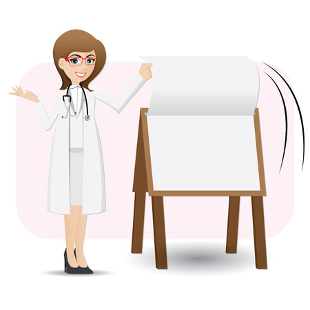 illustration of cartoon cute doctor flip paper on presentation board