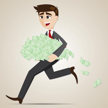 salary man: illustration of cartoon businessman carrying money cash in salary concept