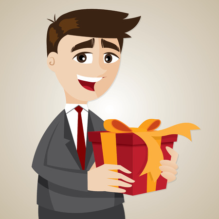rewards: illustration of cartoon businessman with gift box in bonus concept Illustration