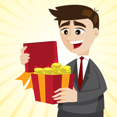illustration of cartoon businessman with gold coins in gift box in bonus concept