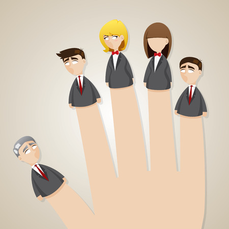 teamwork cartoon: illustration of cartoon finger doll business team in teamwork concept