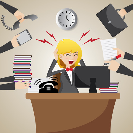 illustration of cartoon businesswoman with many workload
