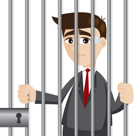 illustration of cartoon businessman in prison in failure concept 向量圖像