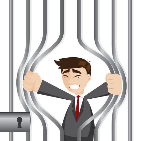 ilustración de dibujos animados de negocios tratando de romper la cárcel