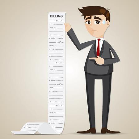 billing: illustration of cartoon businessman with long billing paper Illustration
