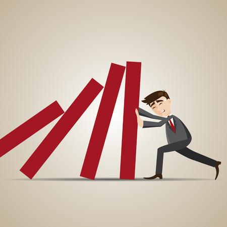illustration of cartoon businessman resist dominos falling Vectores