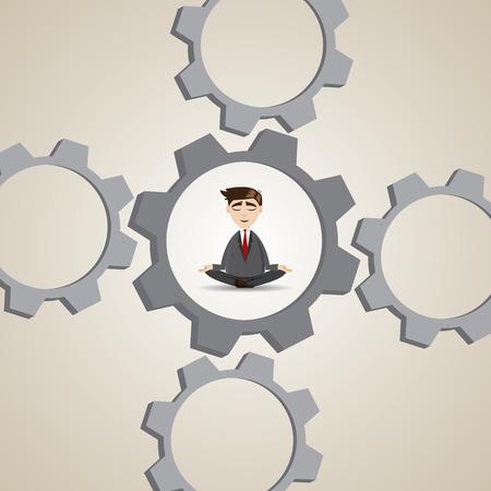 illustration of cartoon businessman meditation in gear system in relax concept Stock Vector - 28994677