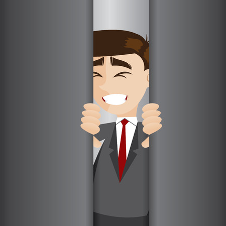 illustration of cartoon businessman tried to open elevator door Illustration