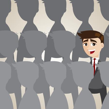 outstanding: illustration of cartoon businessman outstanding from crowd Illustration