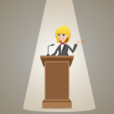 orator: illustration of cartoon businesswoman talking on podium