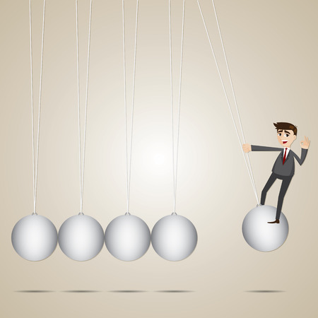 impact tool: illustration of cartoon businessman hanging on newtons cradle Illustration