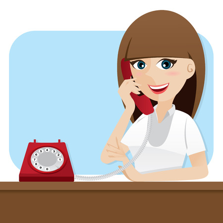 illustration of cartoon smart girl using telephone Vectores
