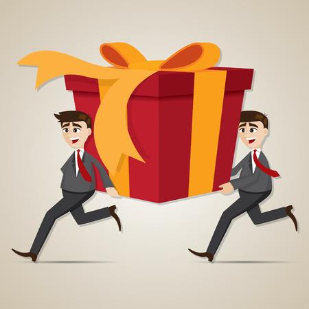 carrying box: ilustraci�n de dibujos animados de negocios que lleva el rect�ngulo de regalo grande Vectores