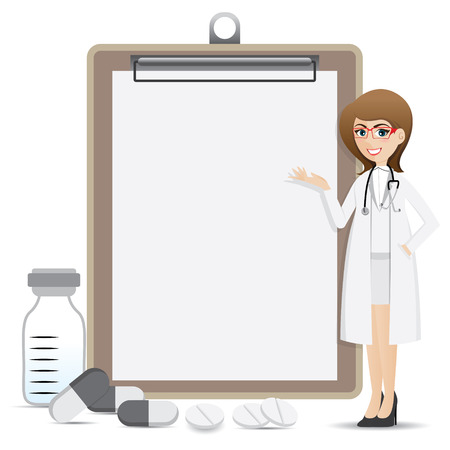 illustration of cartoon smart pharmacist presentation with blank clip board