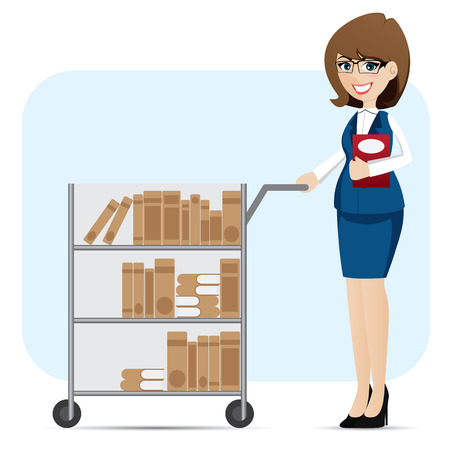 illustration of cartoon girl librarian with book trolley