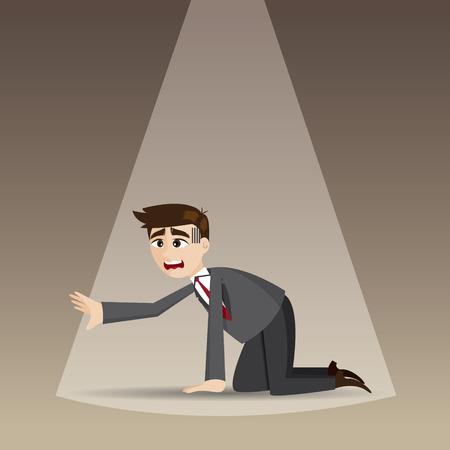 arrodillarse: ilustración de dibujos animados hombre de negocios desesperada se arrodillan en el piso Vectores