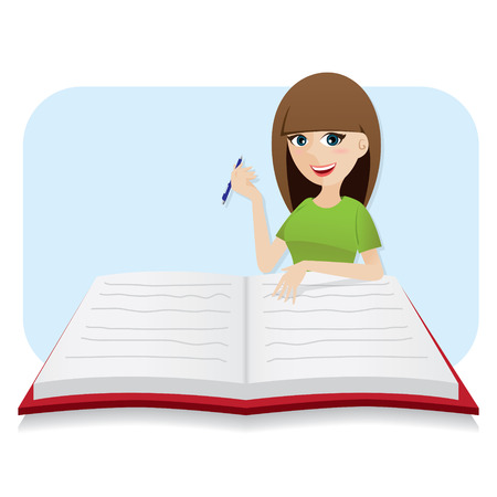illustration of cartoon smart girl writing big diary