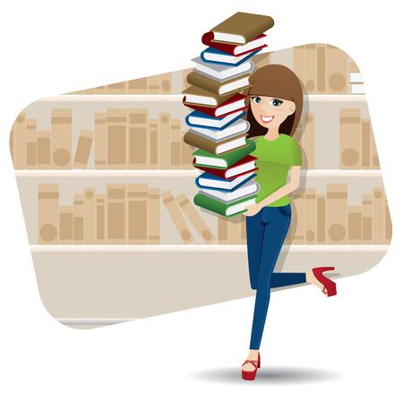 illustratie van cartoon slimme meisje uitvoering stapel boeken in de bibliotheek
