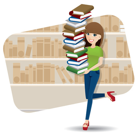 illustration of cartoon smart girl carrying pile of book in library