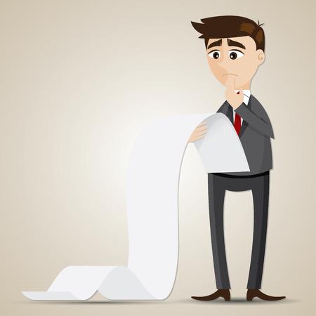 illustration of cartoon businessman looking at long document