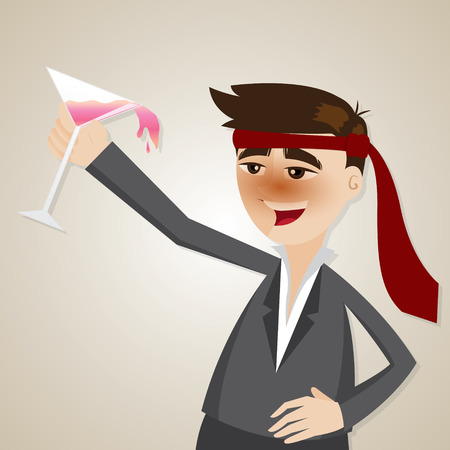illustration of cartoon drunk businessman with glass of cocktail