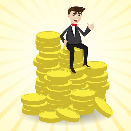 illustration of cartoon businessman sitting on stack of gold coin Vectores