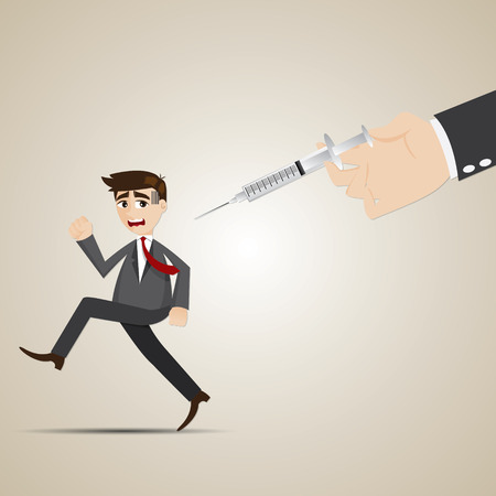 illustration of cartoon businessman run away from vaccination