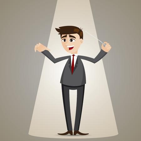 estafette stokje: illustratie van cartoon zakenman met knuppel in dirigent stijl leiderschap concept