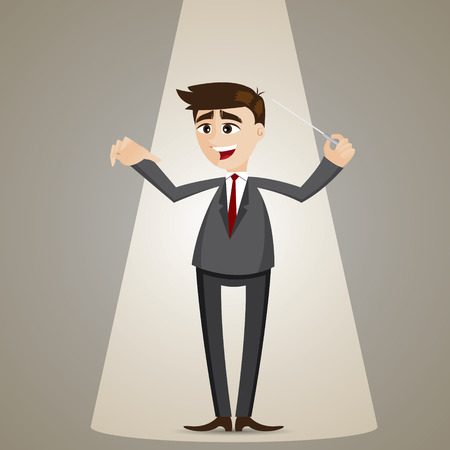 baton: illustration of cartoon businessman with baton in conductor style leadership concept