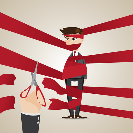 illustration of cartoon wrapping businessman get help