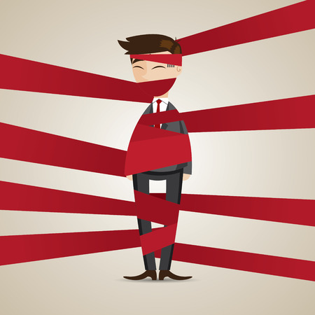 bind: illustration of cartoon businessman wraping with red tape in responsibility concept Illustration