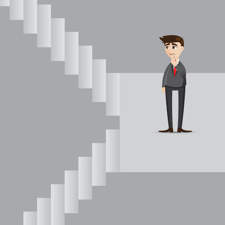considering: illustration of cartoon businessman with up and down stair Illustration