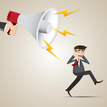 run away: illustration of cartoon businessman run away from big megaphone