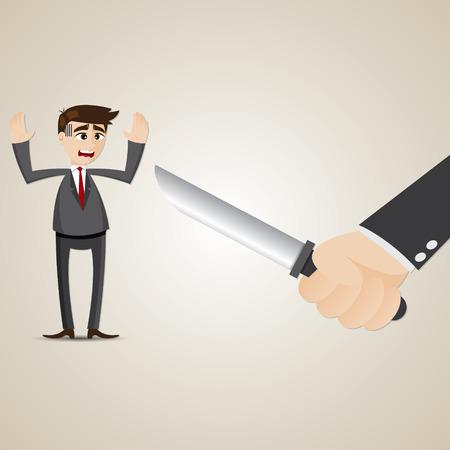 plunder: illustration of cartoon businessman robbed by bandit Illustration