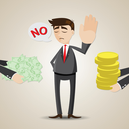 illustration of cartoon businessman refuse money from another person