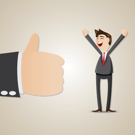good idea: illustration of cartoon happy businessman with thumb up in success concept Illustration